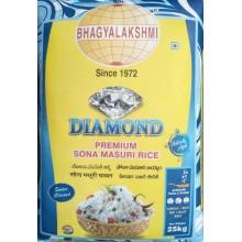 Diamond Sona Masoori Raw Rice 1yr Old 25 kg ,